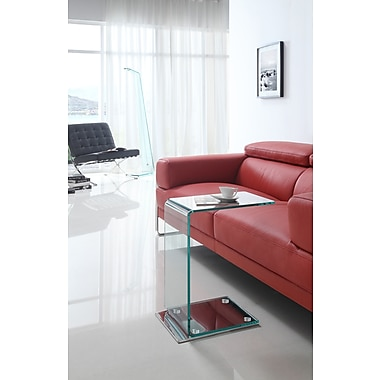 Brassex - Table d'appoint, verre transparent (S098)
