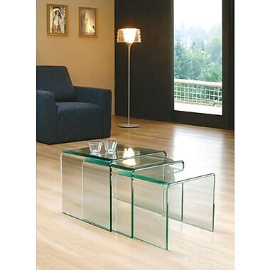 Brassex – Ensemble de 3 tables gigognes, verre courbé transparent (CB001)