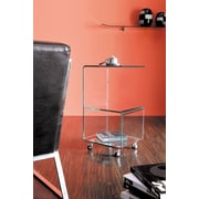 Brassex Accent Side Cart with Castors, Clear Bent Glass (S012 )