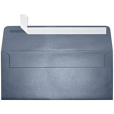LUX Peel & Press #10 Square Flap Envelopes (4 1/8 x 9 1/2) 500/Box, Anthracite Metallic (5360-15-500)