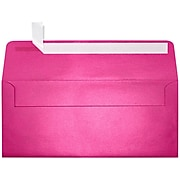 "LUX® 4 1/8"" x 9 1/2"" #10 80lbs. Square Flap Envelopes W/Glue Closure, Azalea Metallic Pink"