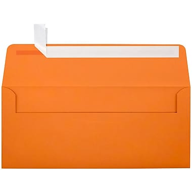 LUX Peel & Press #10 Square Flap Envelopes (4 1/8 x 9 1/2) 250/Box, Mandarin Orange (EX4860-11-250)