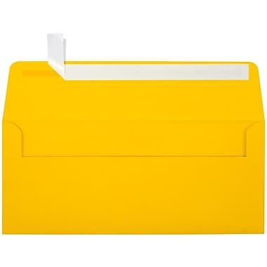 LUX Peel & Press #10 Square Flap Envelopes (4 1/8 x 9 1/2) 500/Box, Sunflower Yellow (EX4860-12-500)