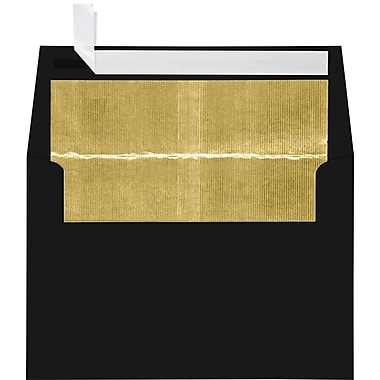 LUX A4 Foil Lined Invitation Envelopes (4 1/4 x 6 1/4) 100/Box, Black w/Gold LUX Lining (FLBK4872-04-100)