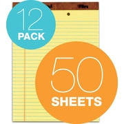 """The Legal Pad™ Wide Rule, Canary, 2-Hole-Punched top, 50 Sheets/Pad, 12 Pads/Pack, 8-1/2""""x11-3/4"""""""