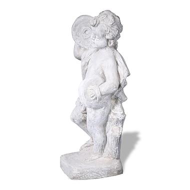 Amedeo Design ResinStone Cherub Cymbal Statue; Lead Gray