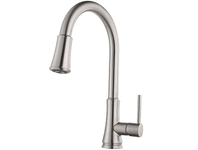 Pfister Single Handle Pull-Down Deck Mounted Kitchen Faucet; Brushed Nickel
