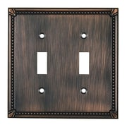 Richelieu Double Toggle Switch Plate; Brushed Oil Rubbed Bronze