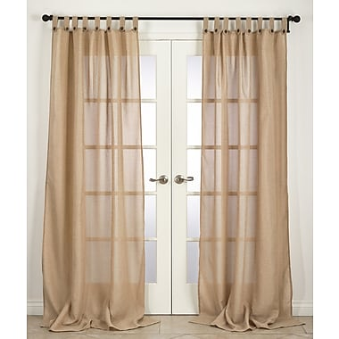 Saro Classic Solid Semi-Sheer Tab top Single Curtain Panel