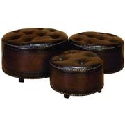 Woodland Imports Leather Ottoman