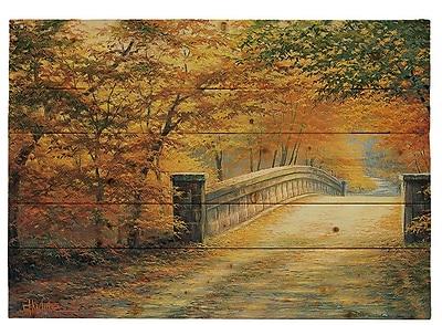 HadleyHouseCo ''Autumn Bridge'' by Charles White Painting Print Plaque; 16'' H x 20'' W x 1.5'' D
