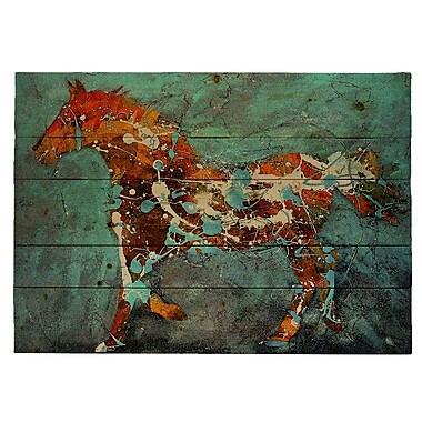HadleyHouseCo ''Speckled Pony'' by Jeff Boutin Painting Print Plaque; 9'' H x 12'' W x 2'' D