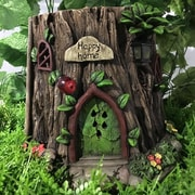 Hi-Line Gift Ltd. Fairy Garden Tree Trunk House w/ Solar LED Lights Statue