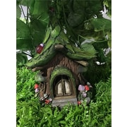Hi-Line Gift Ltd. Fairy Garden House w/ Leaf Roof and Solar LED Lights Statue