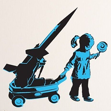 Style and Apply Banksy Girl and War Wagon Wall Decal; 39'' H x 39'' W