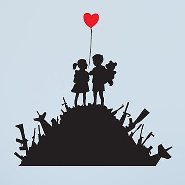Style and Apply Banksy Kids on Guns Wall Decal; 46'' H x 46'' W