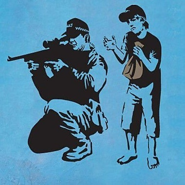 Style and Apply Banksy Sniper and Silly Boy Wall Decal; 46'' H x 46'' W