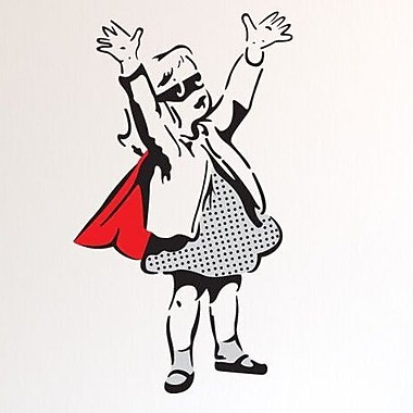 Style and Apply Banksy Super Girl Wall Decal; 28'' H x 16'' W