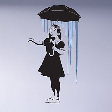 Style and Apply Banksy Umbrella Girl Wall Decal; 55'' H x 31'' W