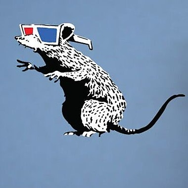 Style and Apply Banksy Rat w/ 3D Glasses Wall Decal; 20'' H x 31'' W