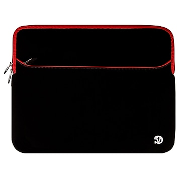 """Vangoddy Neoprene Laptop Protector Sleeve Fits up to 15"""" Laptops (Black with Red Trim)"""