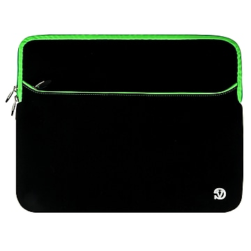 """Vangoddy Neoprene Laptop Protector Sleeve Fits up to 15"""" Laptops (Black with Green Trim)"""