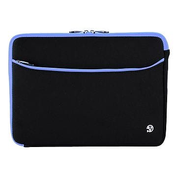 """Vangoddy Laptop Carrying Sleeve with Front Pocket Fits up to 17"""" Laptops (Black with Blue Trim)"""