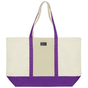 Vangoddy Isling Water Repellant Tote Bag w/ Removable Zippered Pouch (Natural/Purple)
