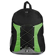 SumacLife Canvas Athletic Laptop Backpack, Black/Green (NBKLEA415)
