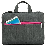 Vangoddy Wave Laptop Briefcase, Gray/Magenta Nylon (NBKLEA602)