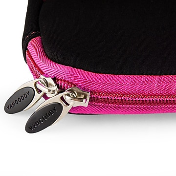 Vangoddy Neoprene Laptop Carrying Sleeve Fits up to 13  Laptops (Black with Pink Trim)