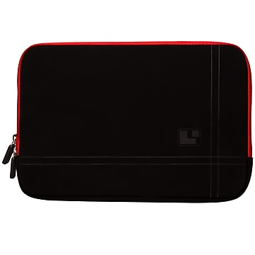 SumacLife Microsuede Laptop Carrying Sleeve Fits up to 13  Laptops (Black with Red Edge)