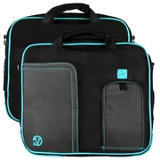 Vangoddy Pindar Laptop Sleeve Messenger Shoulder Bag - Small (Black and Aqua)