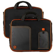 "Vangoddy Pindar Laptop Sleeve Messenger Shoulder Bag Fits up to 13"" Laptops - Medium (Black and Orange)"