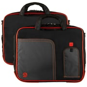 "Vangoddy Pindar Laptop Sleeve Messenger Shoulder Bag Fits up to 15"" Laptops - Large (Black and Red)"