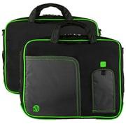 """Vangoddy Pindar Laptop Sleeve Messenger Shoulder Bag Fits up to 15"""" Laptops - Large (Black and Green)"""