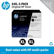 HP 64X Black Toner Cartridge (CC364XD), High Yield, Twin Pack