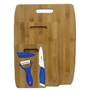 Culinary Edge 6 Piece Bamboo Ceramic Cutting Board Set; Blue