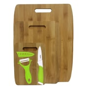 Culinary Edge 6 Piece Bamboo Ceramic Cutting Board Set; Green