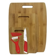 Culinary Edge 6 Piece Bamboo Ceramic Cutting Board Set; Red