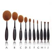 Zoe Ayla Cosmetics – Ensemble professionnel de pinceaux à maquillage ovales, 10 pièces, noir