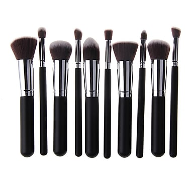 Zoe Ayla Cosmetics – Ensemble professionnel de 10 pinceaux à maquillage kabuki, noir, argenté
