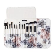 Zoe Ayla Cosmetics Professional 12-Piece Floral Make-Up Brush Set with Vegan Leather Travel Case