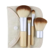 Zoe Ayla Cosmetics 4-Piece Travel Bamboo Make-Up Brush Set in Handy Travel Pouch, Bamboo