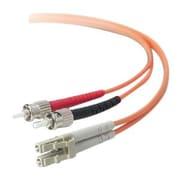 Belkin  F2F402L0 10 m LC to ST Male/Male OM2 50/125 Duplex Multi-mode Fiber Optic Patch Cable, Aqua