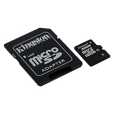 Kingston® SDC4 Class 4 32GB microSDHC Memory Card with SD Adapter
