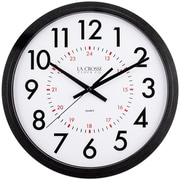 "La Crosse® 13.78"" x 2.64"" Black Info Tech Wall Clock (404-2636B-INT)"