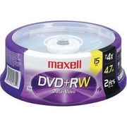 Maxell 634046 4.7GB DVD+RW Recordable Media, Spindle, 15/Pack