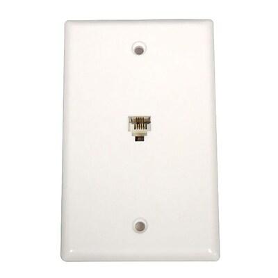 STEREN 300-204 White Wall/Flush Faceplate for Modular Telephone IM1UW1875