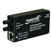 Transition Networks® M/E-PSW-FX-02 RJ-45 to SC Port Mini Fast Ethernet Media Converter, Black